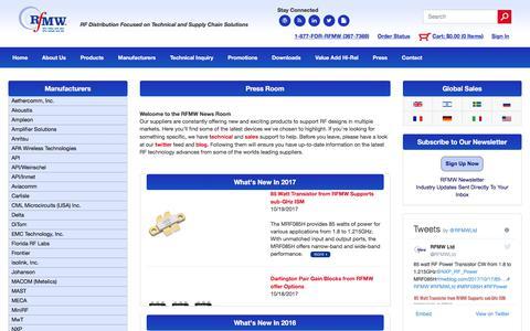 Screenshot of Press Page rfmw.com - RFMW Ltd, RFMW - captured Oct. 22, 2017