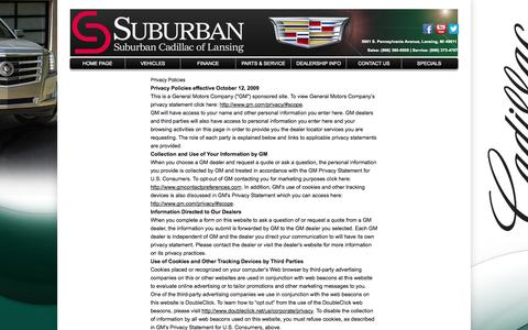 Screenshot of Privacy Page suburbancadillacoflansing.com - Privacy Policy of Suburban Cadillac of Lansing - captured Oct. 1, 2014