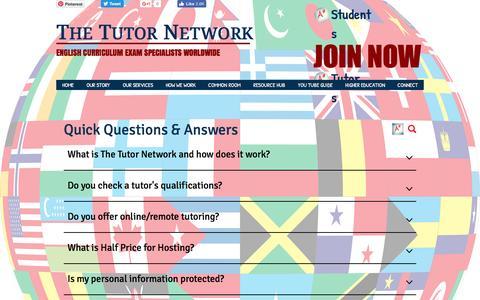 Screenshot of FAQ Page thetutornetwork.net - The Tutor Network | BOOK UK CURRICULUM TUTORS WORLDWIDE - captured Dec. 1, 2016