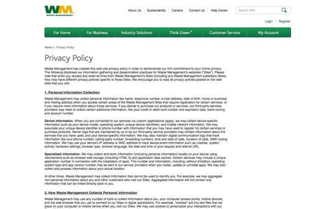 Screenshot of Privacy Page wm.com - Privacy Policy | Waste Management - captured Oct. 23, 2014