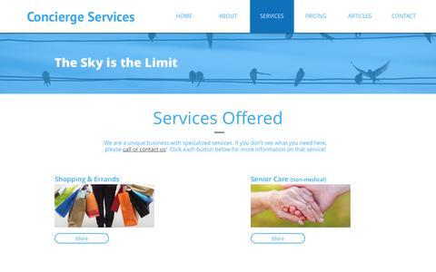 Screenshot of Services Page mypersonalconcierge.org - PORTFOLIO - captured Dec. 2, 2016