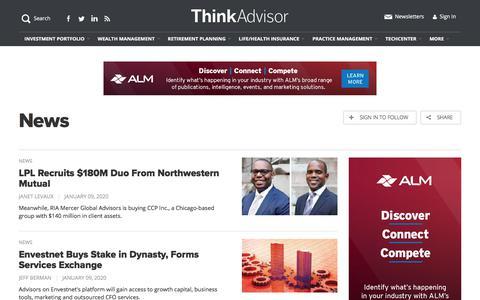 Screenshot of Press Page thinkadvisor.com - Investment News & Analysis for Financial Advisors   ThinkAdvisor - captured Jan. 9, 2020