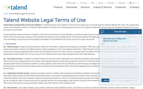 Talend Website Legal Terms of Use - Talend Real-Time Open Source Data Integration Software