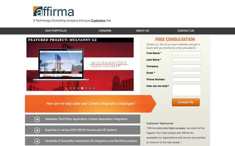 Screenshot of Landing Page affirmaconsulting.com - System Integration Specialists   Affirma - captured Feb. 29, 2016