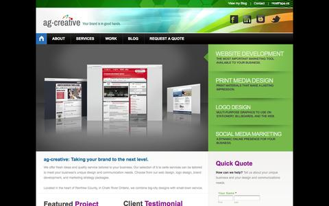 Screenshot of Home Page ag-creative.ca - Welcome to ag-creative | Design & Communication: Ottawa Valley Graphic Design, Website Design and Logo Design - captured Jan. 27, 2015