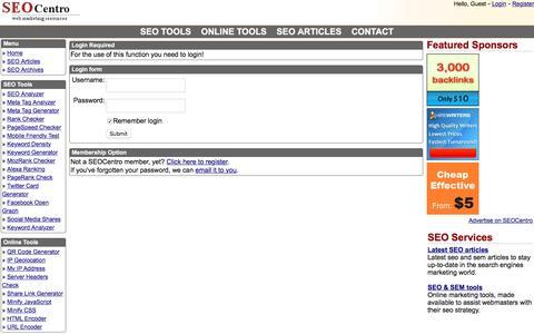 Screenshot of Login Page seocentro.com - SEOCentro SEO Tools - Membership Login - captured Aug. 20, 2016