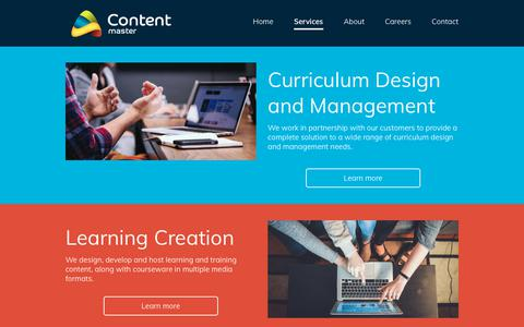 Screenshot of Services Page contentmaster.com - Services   Content Master - captured July 21, 2018