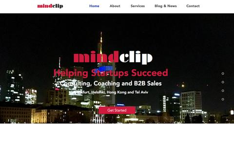 Screenshot of Home Page mindclip.com - mindclip coaching, consulting and accelerating startups to success - captured Feb. 13, 2016