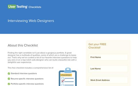 Screenshot of Landing Page usertesting.com - Interviewing Web Designers Checklist | UserTesting - captured Aug. 19, 2016