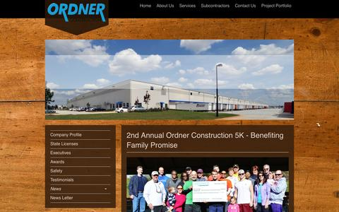 Screenshot of Press Page ordner.com - Ordner Construction Company - What's News - captured Oct. 26, 2014