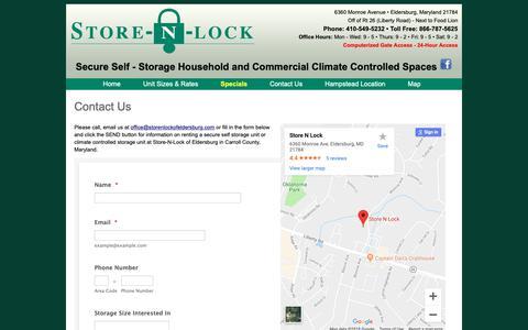 Screenshot of Contact Page Maps & Directions Page storenlockofeldersburg.com - Contact Store-n-Lock of Eldersburg Secure Self Storage - captured Oct. 31, 2018