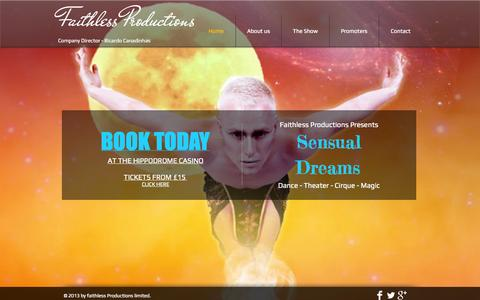 Screenshot of Home Page faithlessshow.com - Faithless Productions - captured Oct. 6, 2014