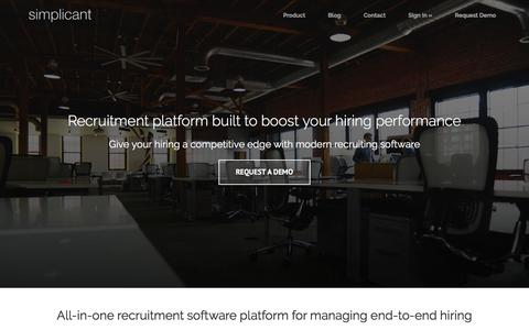 Screenshot of Home Page simplicant.com - Recruitment Software, Applicant Tracking System | Simplicant - captured Nov. 23, 2016
