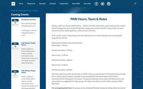 Screenshot of Hours Page pari.edu - Hours & Rates | PARI - captured Nov. 10, 2018