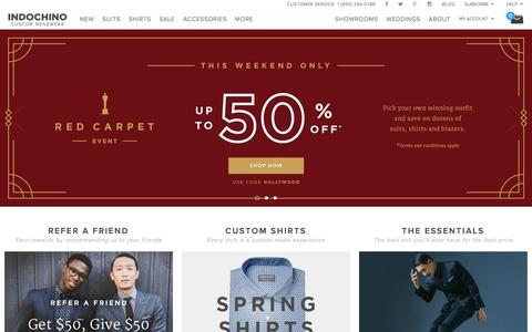 Screenshot of Home Page indochino.com - Custom Suits & Mens Suits - captured Feb. 25, 2016