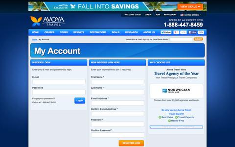 Screenshot of Signup Page avoyatravel.com - My Account at Avoya Travel - captured Sept. 25, 2014