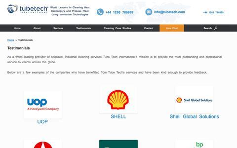Screenshot of Testimonials Page tubetech.com - Testimonials - Heat Exchanger Cleaning Specialists - captured Dec. 1, 2016