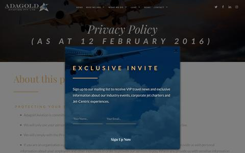 Screenshot of Privacy Page adagold.com.au - Privacy Policy | Jet Charters | Adagold Aviation - captured Oct. 7, 2017