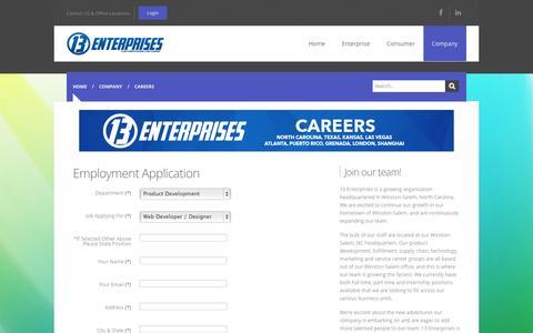 Screenshot of Jobs Page 13enterprises.com - Careers - captured Oct. 9, 2014