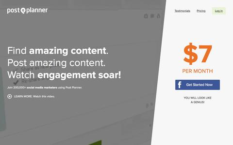 Screenshot of Home Page postplanner.com - Facebook Marketing App Saves You 2 Hours Daily | Post Planner - captured Nov. 16, 2015