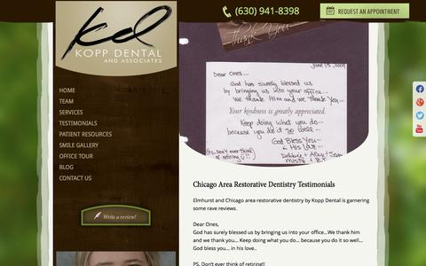 Screenshot of Testimonials Page koppdental.com - Restorative Dentistry Chicago | Dr Kopp Elmhurst IL | Testimonials - captured Oct. 6, 2014
