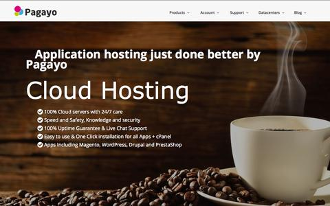 Screenshot of Home Page pagayo.com - Hosting Just Done Better by Pagayo - Cloud Hosting - captured Jan. 23, 2015