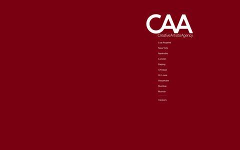 Screenshot of Home Page caa.com - Creative Artists Agency - captured July 11, 2014