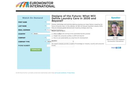 Screenshot of Landing Page euromonitor.com - Webinar On Demand   Designs of the Future: What Will Define Laundry Care in 2030 and Beyond? - captured June 14, 2016