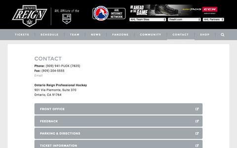 Screenshot of Contact Page ontarioreign.com - Contact Us :: Ontario Reign - captured Dec. 10, 2016