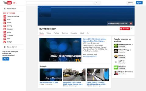 Screenshot of YouTube Page youtube.com - BuynShootcom  - YouTube - captured Oct. 23, 2014