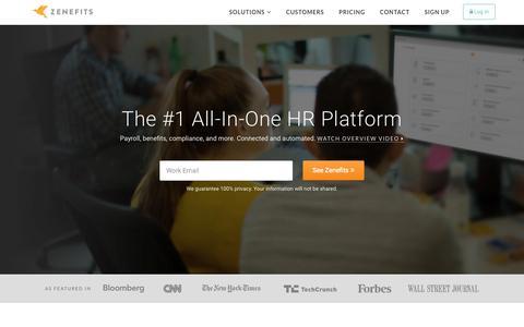 Screenshot of Home Page zenefits.com - Zenefits: Online HR Software | Payroll | Benefits - All-In-One - captured Nov. 16, 2015