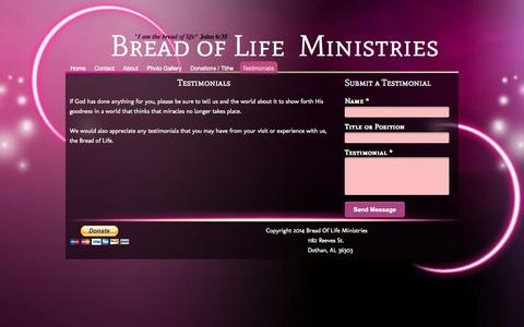 Screenshot of Testimonials Page bolministries.org - - Testimonials - captured Oct. 5, 2014