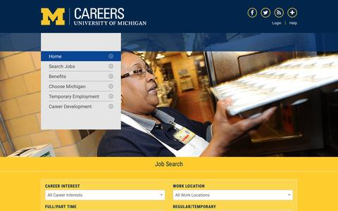 Screenshot of Jobs Page umich.edu - Home | Careers at the U - captured Nov. 1, 2016