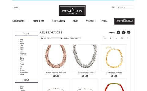 Screenshot of Products Page totalbettysociety.com - View All Products|Total Betty Society - captured Oct. 7, 2014