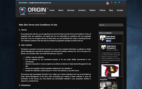 Screenshot of Terms Page originsportsmanagement.com - Origin Sports Management   –  Terms and Conditions - captured Oct. 7, 2014