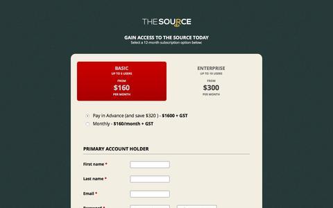 Screenshot of Signup Page gotothesource.com.au - Sign Up - captured Nov. 16, 2016