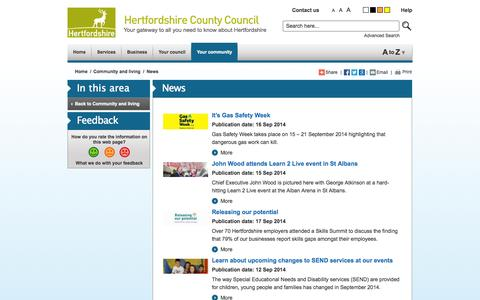 Screenshot of Press Page hertsdirect.org - hertsdirect.org News - captured Sept. 22, 2014