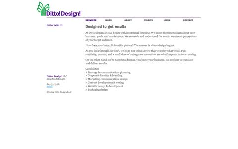 Screenshot of Services Page dittodoesit.com - Ditto! Does It! | Ditto! Design! - Marketing, design & branding - captured Oct. 5, 2014