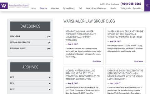 Screenshot of Blog warlawgroup.com - Warshauer Law Group | Atlanta Personal Injury Attorney - captured Oct. 19, 2017