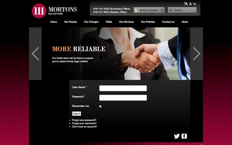 Screenshot of Login Page mortons-solicitors.com - User Login - captured Sept. 30, 2014