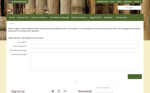 Screenshot of Contact Page securearea.eu - Contact opnemen-Delibugs - captured Oct. 29, 2014