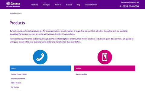 Screenshot of Products Page gamma.co.uk - Gamma - Next generation voice, data and mobile products - captured June 13, 2017
