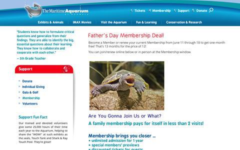 Screenshot of Signup Page maritimeaquarium.org - Membership - captured June 24, 2017
