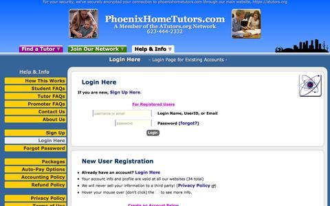 Screenshot of Login Page atutors.org - PhoenixHomeTutors.com: Login Here - Login Page for Existing Accounts - captured Nov. 5, 2016