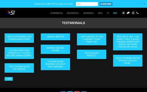 Screenshot of Testimonials Page screeninnovations.com - Testimonials Archives | Screen Innovations - captured Aug. 2, 2015