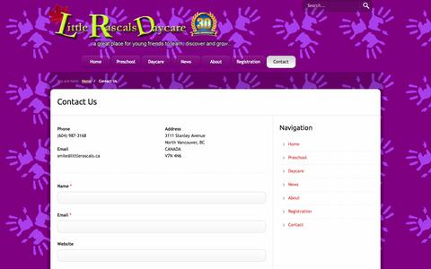 Screenshot of Contact Page littlerascals.ca - Contact Us  | Little Rascals Day Care - captured Oct. 27, 2014