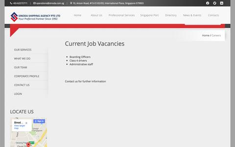 Screenshot of Jobs Page sinoda.com.sg - Careers - Sinoda Shipping Agency Singapore - captured Feb. 23, 2016