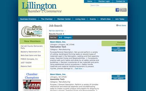 Screenshot of Jobs Page lillingtonchamber.org - Job Search - Lillington Chamber of Commerce, NC - captured Nov. 8, 2016
