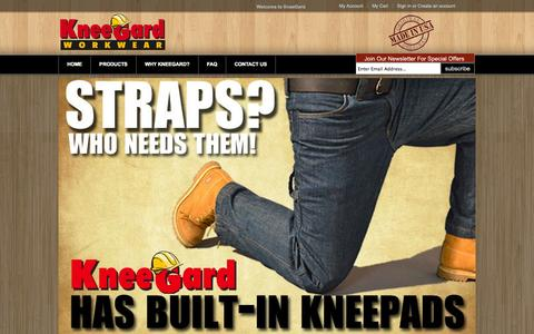 Screenshot of Home Page kneegard.com - Work Pants with Knee Pads | Work Pants Made in USA | Pants with Built in Knee Pads | Best Knee Pads for Work | Workwear Clothing | KneeGard - captured Oct. 6, 2014
