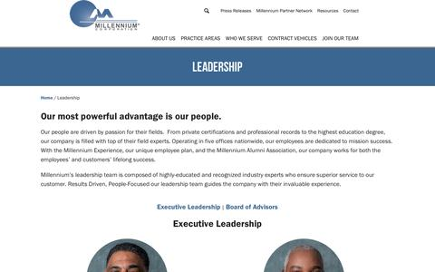 Screenshot of Team Page millgroupinc.com - Leadership - Millennium Corporation - captured Nov. 16, 2018